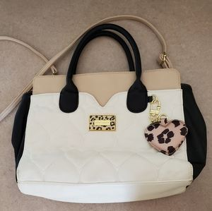 Betsey Johnson/ cream and black with leopard detai